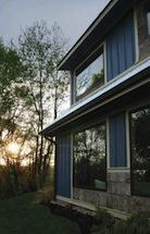 Picture of passive solar design from south elevation, the Springtime Cottage in West Asheville