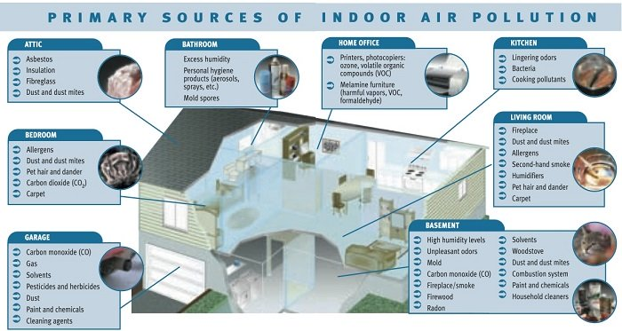 Diagram of Indoor Air Pollution Sources