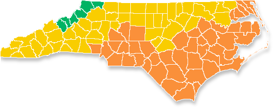 Image showing the building climate zones and resulting energy codes of North Carolina